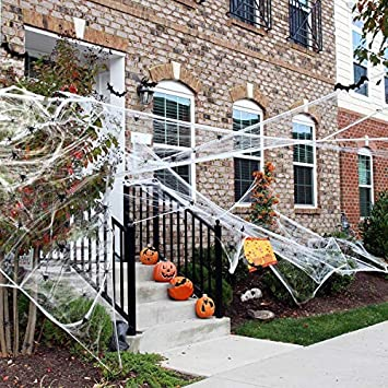 Ptsaying 100g Halloween Spider Webs Stretchable Fake Cobwebs Webbing Decorations with 30pcs Plastic fake Spiders for Haunted House Decor Scary Scence Party Supplies 1