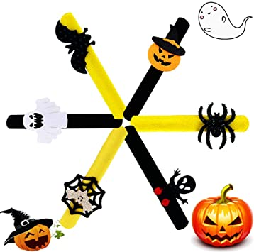 Anbaituor Halloween Slap Bracelets Wristbands - 6 Pcs Snap Bands Bracelets Bulk with Spider Pumpkin Ghost Bat for Treat Bag Fillers Halloween Party Favor 1