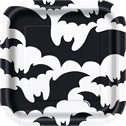 Unique Party 77054 - 18cm Square Black Bats Halloween Paper Plates, Pack of 10 1