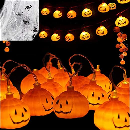 Evance Halloween Pumpkin String Lights with Stretchable Spider Cob Web & 4 Spider, 10 Feet 20 LEDs Pumpkin Lights Battery Operated, Led Fairy Lights for Party Halloween Decorations (Orange Pumpkins) 1