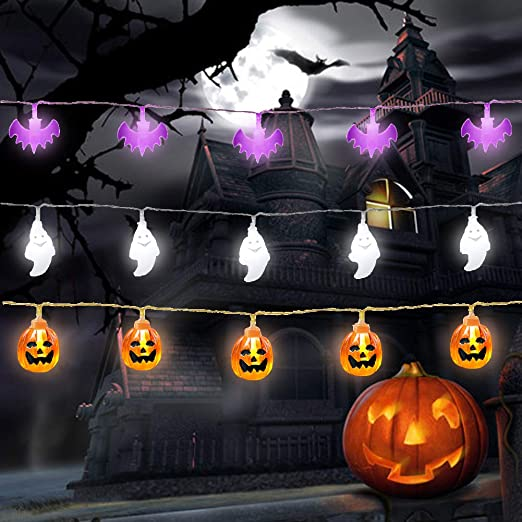 Set of 3 Halloween Lights, Halloween Pumpkin String Lights, Halloween Ghost Fairy Lights, Halloween Decorations Bat Fairy Lights for Outdoor Indoor Halloween Party Decoraton 1
