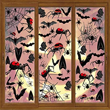 Vicor 132Pcs Halloween Window clings,6 sheets Reusable Window Stickers,Halloween Spider Web stickers for Halloween Party Window Decorations 1
