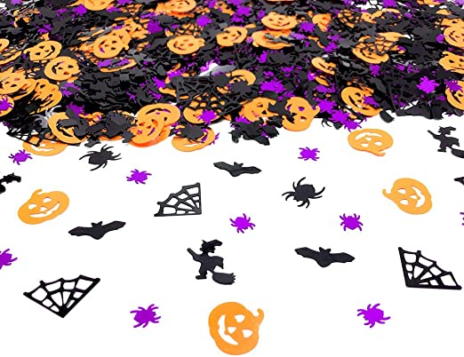 Halloween Confetti | Glitter Confetti Sprinkles for Party Table Scatters Decoration | Pumpkin Bat Witch Spider Confetti for Party Supplies | Metallic Foil | 45g 1.6OZ 1100Pcs 1