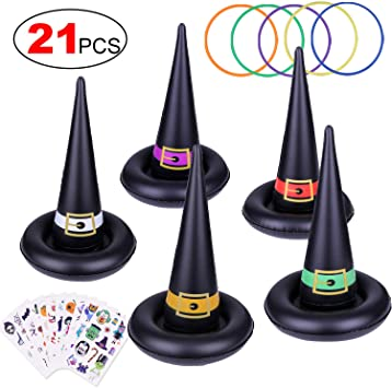 HOWAF Halloween Party Games for Kids Children, Inflatable Witch Hat Ring Toss Halloween Indoor Outdoor Games Kids Halloween Party Supplies (Halloween Tattoos Included) 1