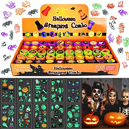 Viccess 50pcs Halloween Stamp Set Assorted Stamp Set For Kids Self-Ink Stamps With 10pcs Halloween Temporary Tattoos For Halloween Party Bag Fillers,Party Favor,Halloween Goodies Bags 1
