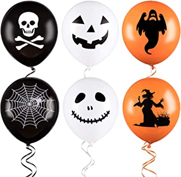 Whaline 100Pcs Halloween Balloons with 3 Rolls of Ribbons, 12 Inches Latex Balloons 6 Styles Halloween Pumpkin, Ghost and Skull Balloon Party Decoration Supplies (White, Orange, Black) 1