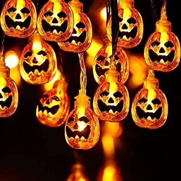 Viwril Halloween Pumpkin String Light, 40 LED Halloween Decoration Pumpkin Lights, 6M Indoor Outdoor Decorative Rope Lights for Patio, Garden, Gate, Yard, Halloween Christmas Decoration 1