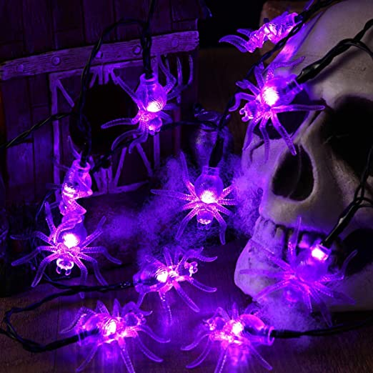 Joomer 2 Pack Spider Halloween String Lights, 10.5Ft 30 LED Battery Operated Halloween Lights, 2 Modes Flash/Steady On Purple Spider Lights for Halloween Decorations (Purple) 1