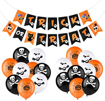 KUUQA Halloween Party Decorations Supplies Kit Include Halloween Banner, 18 Pcs Latex Balloons, for Halloween Party Bar Home Decor Supplies 1