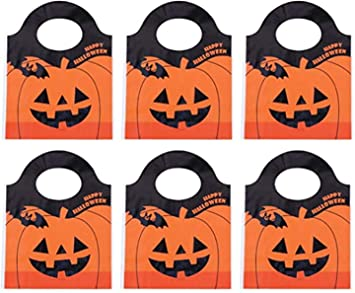 Halloween Tote Bags 50pcs, Halloween Candy Bags Treat Bags Goody Mini Bags, Plastic Pumpkin Candy Bags Packing Bag Halloween Shopping Storage Pouch in Bulk 1