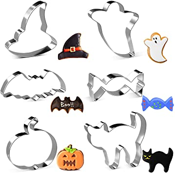 Halloween Cookie Cutters, Joyoldelf 6 Piece Biscuit Cookie Cutter - Pumpkin, Bat, Ghost, Cat, Witch Hat, Candy for Kids - Stainless Steel 1