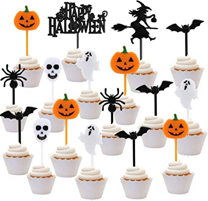 iZoeL Halloween Cake Toppers Set 108pcs Plastic Cupcake Topper, Halloween Fruit Desserts Food Picks for Kids Adult - Halloween Themed Party Decorations (Colorful) 1