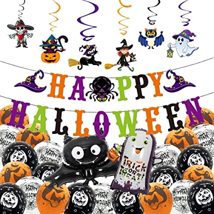 Hedallo Halloween Party Decorations, Happy Halloween Banners,PVC Spiral Decorati,Pumpkin Ghost Balloons,Trick or Treaters Ghost,Bats,Spiders for Home School Kids Party Supplies 1