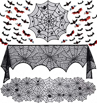 Siundam 51 Pieces Halloween Decorations Set- Lace Spider Web Table Runner, Round Lace Table Cover, Fireplace Mantel Scarf and 48 Pieces 3D Bats and Pumpkin Wall Sticker Decal 1