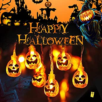 Halloween Pumpkin String Lights, 9.8ft 20 LEDs Pumpkin String Lights, Battery and USB Powered LED Pumpkin Fairy Lights Halloween Decorations for Home Indoor Garden Balcony Party Decoration 1