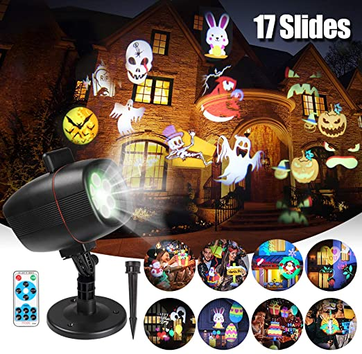 Halloween Projector Lights, infinitoo 17 Patterns Rotating Snowflake LED Projector Christmas Spotlight,Waterproof Outdoor Landscape Lights Festival Use Easter Birthday New Year Party Mother?s Day 1