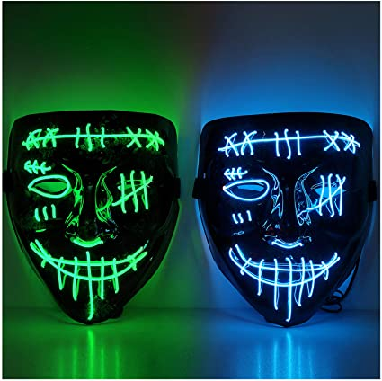 Twister.CK Halloween Scary Mask, LED Light up Halloween Face Mask - 2Pack Mask Cosplay Decoration for Festival Party Carnival Cosplay Halloween Christmas, Blue + Green 1
