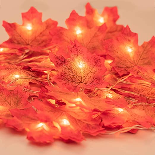 Fall Garland with Lights, Fall Maple Leaves String Light, 6.56ft /20 Led Maple Fairy Light, 3AA Battery (Not Included) Powered Led Maple Garland Harvest Autumn Leave Light for Halloween Decoration 1