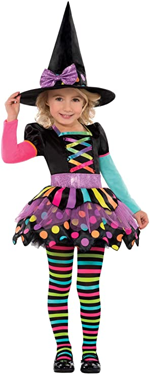 New Amscan Kids Halloween Miss Matched Witch Girls Fancy Dress Costume (4-6 Years) 1