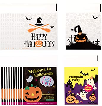 Whaline 200Pcs Halloween Candy Bag, Self Adhesive Clear Cookie Treat Bags, Cellophane Plastic Gift Bags for Halloween Party Supplies, Homemade Craft, Snack Gift Packing (4 Styles) 1