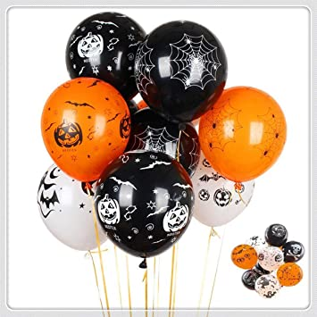 Eastor 100 Pieces Halloween Latex Balloons - 12 Inch Pumpkin Bat Ghost Skull Specter Spider Web Balloons for Halloween Party Decorations, School Classroom Game Party Decoration Supplies 1