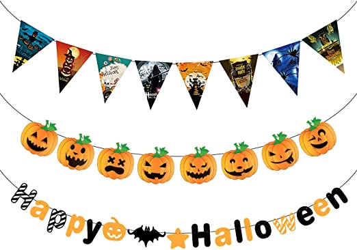 MIAHART Halloween Party Decorations Banner 3 pcs Happy Halloween Letter Banners Pumpkin Banners for Halloween Indoor Outdoor Party Decoration Bunting Banner 1