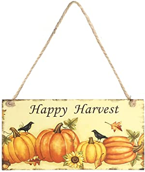 OULII Decorative Hanging Wooden Decoration for Thanksgiving Halloween Pumpkin Hanging Easter Wooden Plate (Happy Harvest) 1