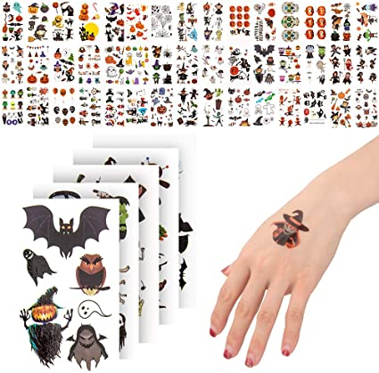 # 400 Halloween Temporary Tattoos for Kids, Non-Toxic Stickers for Halloween Makeup, cosplay Party, Face Decals Party Supplies, Halloween Favors for Boy and Girls 1