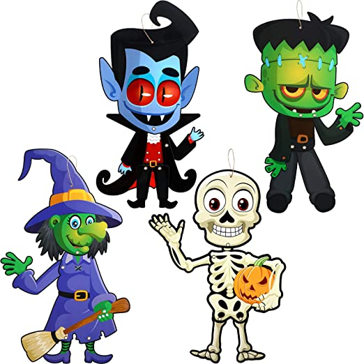 4 Sets Funny Halloween Party Decoration Jointed Figures Halloween Door Hanger, Hanging Halloween Wall Decoration Signs Vampire, Skeleton, Witch, Zombie Banners for Halloween Party Decor 1