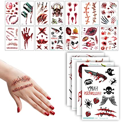 14 Sheets Halloween Temporary Scars Tattoos -Waterproof Fake Blood Tattoo Stickers Decoration Make-Up Props,Vampire Teeth,Stitches Scars,Wounds,Skull,Suit for Kid,Adult Party Cosplay(97Pcs) 1