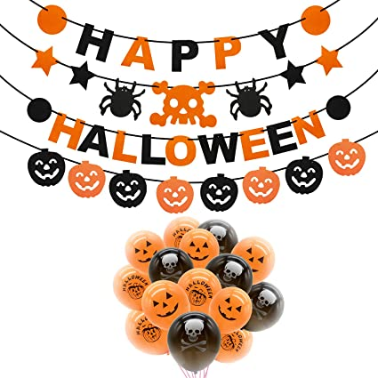 Rorchio Halloween Party Decorations, 3pcs Happy Halloween Banner Pumpkin Ghost Banner and Halloween Balloons for Halloween Indoor Outdoor Decor 1
