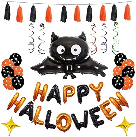 ENET Halloween Balloons Party Decorations Black Bat & Letter Balloons Swirls Hanging Ornament for Party Supplies 1