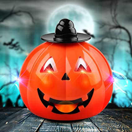 Halloween Decoration Pumpkin Car for Toddlers Toys for 3-6 Year Old Boys and Girls Cute Halloween Pumpkin Toys Gifts for Kids Halloween Party Toys Halloween Pumpkin LED Electric Music Toys 1