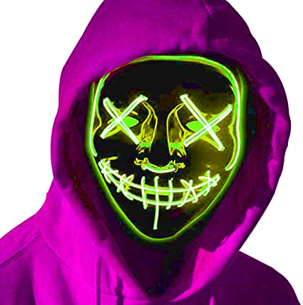 OPPEY Halloween Mask LED Mask, Light up Halloween Masks, Costume LED Glow Scary Neon Mask for Festival Party Carnival Costume Christmas Cosplay Glowing in Dark 1