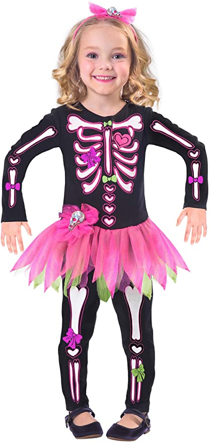 Childs Fancy Bones Skeleton Costume Dress (Age 2-3 Years) 1