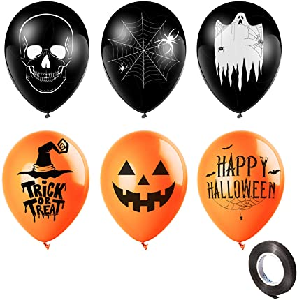 Whaline 30Pcs 12 Inch Halloween Balloons Black Orange Latex Balloons with Black Ribbon Skull Pumpkin Ghost Spider Web Witch Balloons for Halloween Party Decoration Supplies (6 Styles) 1