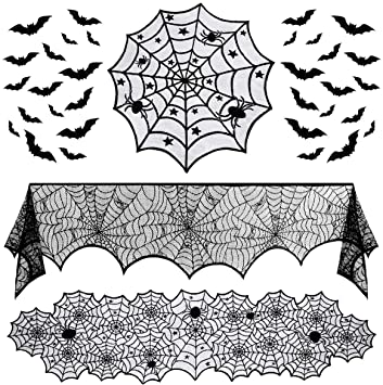 Hemoton 35pcs Halloween Decoration Set?Lace Table Runner,Spiderweb Round Lace Table Cover,Fireplace Mantel Scarf,3D Bats Stickers for Halloween Party Supplies 1