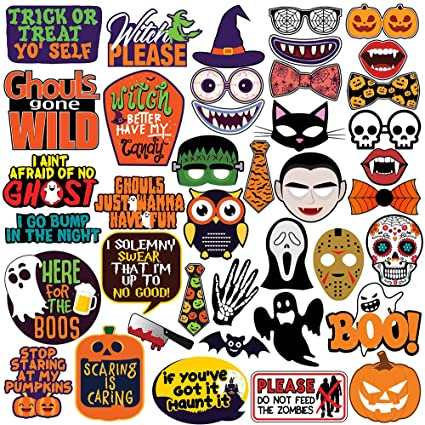 Halloween Party Photo Booth Props - 40 pcs - Trick or Treat Party Decorations, Supplies & Favors 1