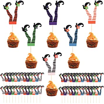 Aneco 60 Pieces Halloween Cupcake Toppers Witch Boot Picks Cupcake Party Decorations for Halloween Party Decoration Supplies, 6 Colors 1