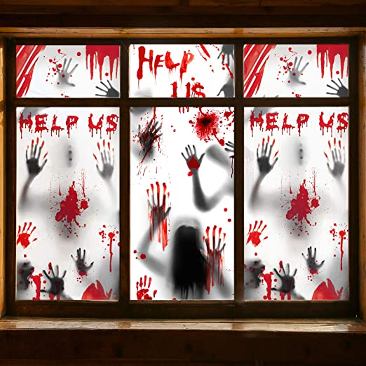 Halloween Window Decorations Zombie Posters - 3 Pcs Giant Bloody Handprints Zombie Silhouettes, Creepy Window Treatment Wall Decor Door Covers for Halloween Scary Haunted House Party Decorations 1