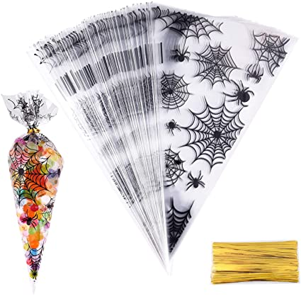 MIAHART 100 Counts Spider Patterned Halloween Cone Cellophane Bags Treat Candy Bags with 100 Pcs Twist Ties for Halloween Party Supplies 1