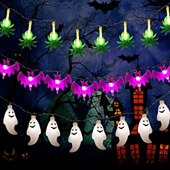 Halloween/Christmas String Lights, 3 Pack 44.3FT Battery Operated Fairy Lights 3x30 LED Green Spider, White Ghost, Purple Bat String Lights for Indoor/Outdoor Holiday Party Decorations 1