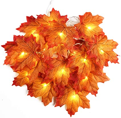 Indoor Outdoor Halloween Fall Maple Leaf Light Decoration Christmas 19.68ft 40 LEDs Autumn Waterproof Garland String Light for Thanksgiving Home Festival Party