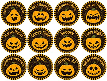 Whaline 320Pcs Halloween Stickers Pumpkin Reward Stickers School Praise Teacher Reward Stickers Trick or Treat Label Decals for Kids Parents Party Gift Candy Bags, 20 Sheets 1