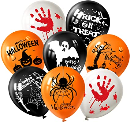 FEPITO 18 Pcs 12 Inch Halloween Decorations Latex Balloons Halloween Fun Party Balloons with 7 Halloween Pattern 1