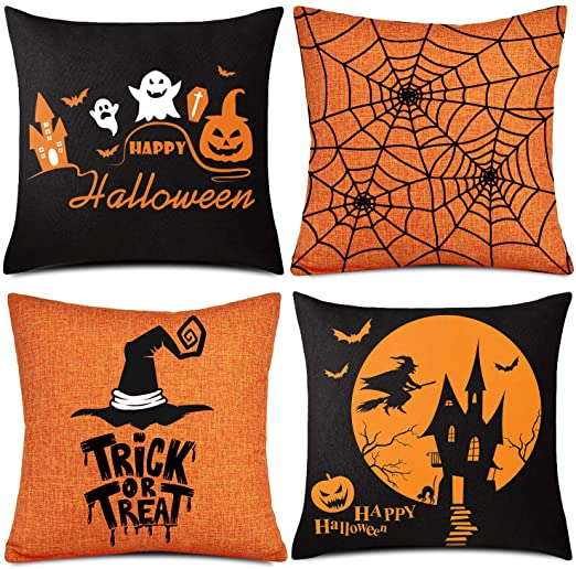 "Whaline 4 Pieces Halloween Pillow Case, Orange and Black Pillow Cover, Happy Halloween Linen Sofa Bed Throw Cushion Cover Decoration (18"" x 18"") 1"