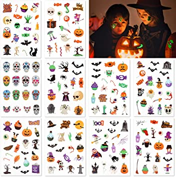 FRCOLOR 187Pcs Halloween Temporary Tattoos for Kids Adults,10 Sheets Halloween Luminous Tattoo Stickers Waterproof Pumpkin Bats Skeleton Sugar Skull Tattoo for Halloween Party Festival Decor 1