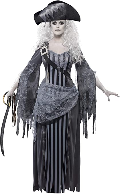Smiffys Adult Women's Ghost Ship Princess Costume, Dress and Hat, Ghost Ship, Halloween, Size: L, 22970 1