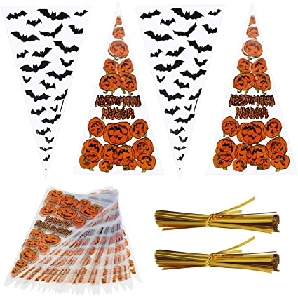KATOOM 200pcs Halloween Cone Bags,Transparent Pumkin Bat Candy Patterned Cellophane Trick or Treat Bag with 200pcs Gold Twist Ties for Halloween Sweets Biscuit Party Decoration Supplies 1