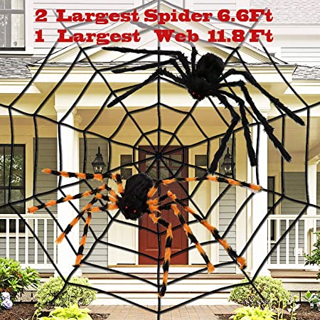 "dee banna Halloween Spider 11.8Ft Large Plush Spider Web with 2 Large Spider 35.4"" Halloween Decor Haunted House Spooky Toys for Halloween Decorations 1"